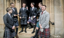Groom and best men by Highland Wedding Photographer Ewan Mathers