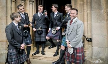 Groom and best men by Edinburgh Wedding Photographer Ewan Mathers