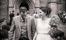 Confetti at Church by Edinburgh Wedding Photographer Ewan Mathers