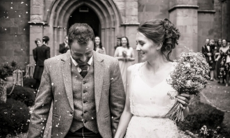 Confetti at Church by Edinburgh Wedding Photographer Ewan Mathers