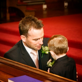 Groom and Son by Wedding Photographer in Edinburgh - Ewan Mathers