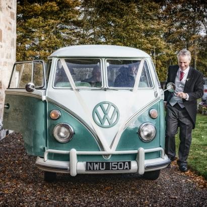VW Bus and Groom by Wedding Photographer in Edinburgh - Ewan Mathers