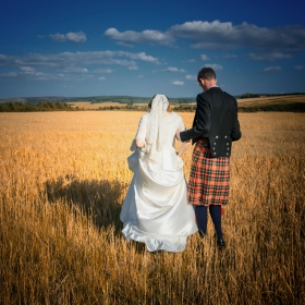 Bride and Groom by Wedding Photographer in Edinburgh - Ewan Mathers